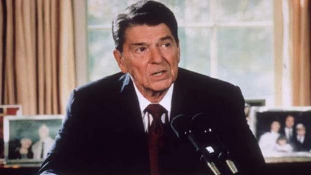 "On April 14, 1986, President Ronald Reagan addresses the nation to announce that he has authorized a series of air strikes against Lybia. The military action was ordered as retaliation for a Berlin terrorist bombing, which Reagan describes as the latest act in Lybia's ""reign of terror."""