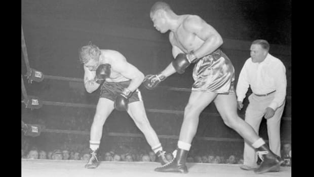 Live coverage of boxing champ Joe Louis is captured in a broadcast from Olympia Stadium in Detroit on January 3, 1951. Mounting a comeback, Louis beats Freddie Beshore in the fourth round.