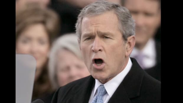 "As President George W. Bush begins his second term as chief executive of the United States, he tells Americans that working toward worldwide democracy is ""the calling of our time"" in his inaugural address on January 20, 2005."