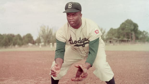 On this day in history in 1947, Jackie Robinson, age 28, becomes the first African-American player in Major League Baseball when he steps onto Ebbets Field in Brooklyn to compete for the Brooklyn Dodgers.