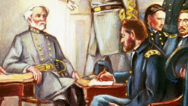 In April 1865 Gen. Robert E. Lee surrenders to Gen. Ulysses S. Grant, bringing an end to the Civil War after four years of battle.