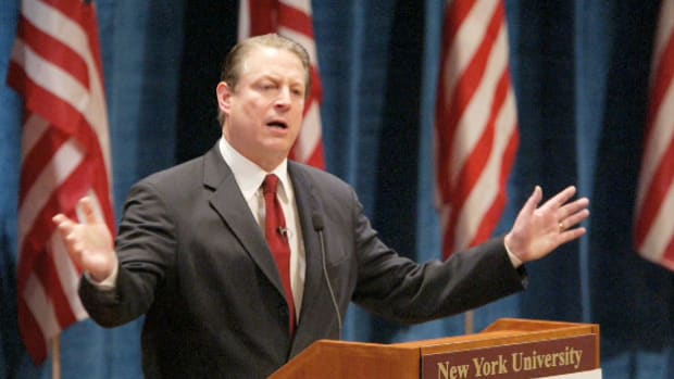 In a speech delivered on May 26, 2004, at New York University, former Vice President Al Gore condemns the abuse of prisoners by American military personnel at Abu Ghraib prison in Iraq. A series of photographs revealing torture that occurred at the prison had set off an international scandal in April.