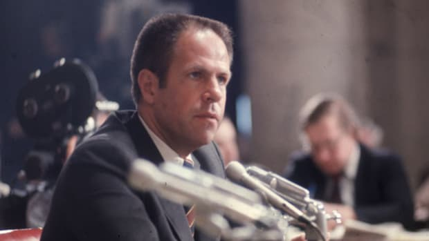 "On October 20, 1973, President Richard Nixon dismissed Special Prosecutor Archibald Cox and accepted the resignations of Attorney Gen. Elliot L. Richardson and Deputy Attorney Gen. William D. Ruckelshaus. Later that night, Sen. Alan Cranston reacts to what became known as the ""Saturday Night Massacre."""