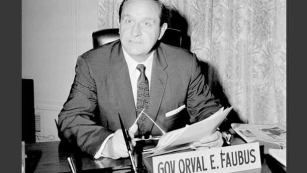 On September 2, 1957, Governor Orval Faubus called out the Arkansas National Guard to prevent a group of African-American students, who later became known as the Little Rock Nine, from entering the all-white Central High School. In a broadcast that evening, Faubus defends his decision to call in the state's National Guard.