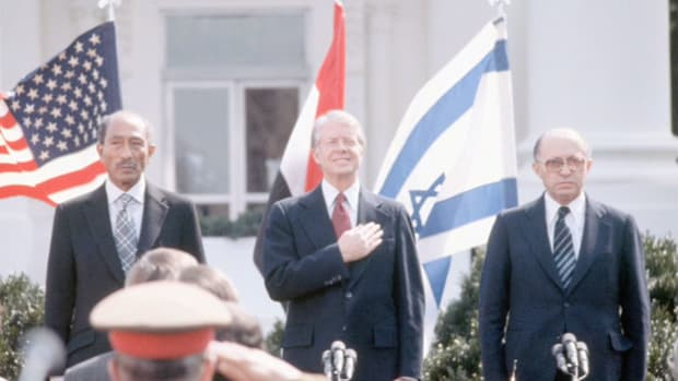 On September 17, 1978, at the end of the 13-day Camp David Summit that resulted in the first-ever peace treaty between Egypt and Israel, Egyptian President Anwar el-Sadat thanks President Jimmy Carter for his critical role in the peace process.