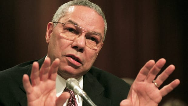 Purple Heart recipient Colin Powell was the first African-American chairman of the Joint Chiefs of Staff. Learn about his two tours of duty in Vietnam and his time working as Secretary of State under President George W. Bush in this video.