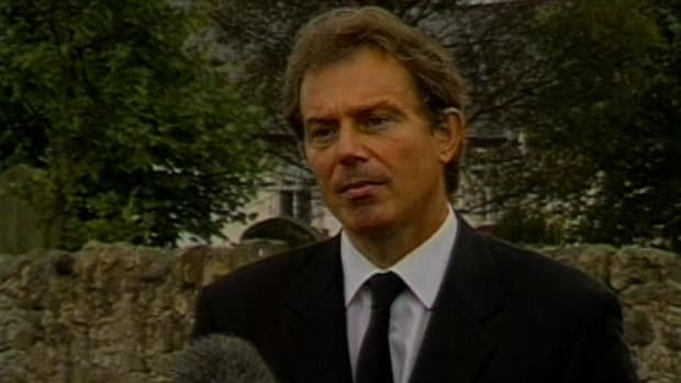 History Uncut  The History Channel: Recently elected British Prime Minister Tony Blair speaks solemnly to the press about the death of the Princess of Wales, Diana Spencer. The Princess had been killed in a car accident in Paris, the result of a high-speed chase. Photographers on motorbikes were in pursuit of the Princess and her entourage. This video clip is courtesy of The History Channel.