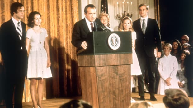 Richard Nixon bids a humble and tearful farewell to his staff and the White House Cabinet in the wake of the Watergate scandal that forced his resignation.