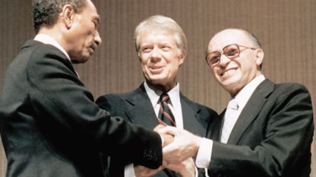 At the conclusion of the Camp David Summit, Israeli Prime Minister Menachem Begin delivers a speech on September 17, 1978, expressing his gratitude to President Jimmy Carter, who helped negotiate the first peace treaty between Israel and an Arab nation.
