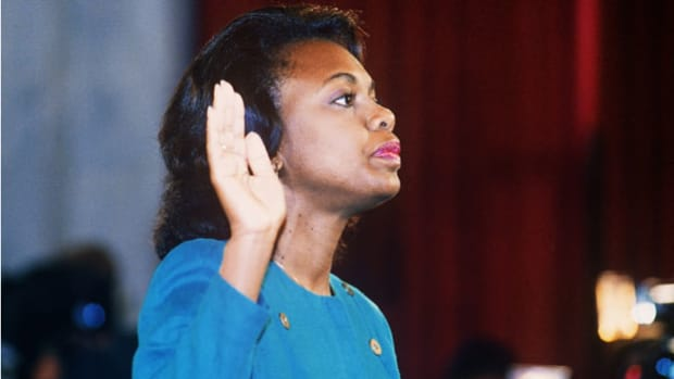 In October 1991, while the Senate Judiciary Committee was deliberating over the final vote on U.S. Supreme Court nominee Clarence Thomas, Anita Hill stepped forward with accusations of sexual harassment against Thomas. As a result, the committee held three days of investigative hearings. In her nationally televised and broadcast statement, Hill testifies about the alleged harassment.