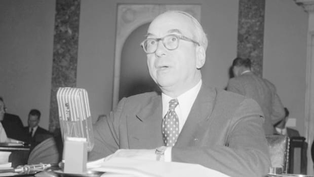 Former banker and hydrogen bomb champion Lewis Strauss addresses the U.N. on nuclear energy. Strauss was appointed to the U.S. Atomic Energy Commission (AEC) in 1946 and served as its chairman from 1953 to 1958. In September 1956 U.N. delegates gathered to approve a new international atomic energy agency.