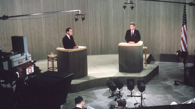 For the first time in U.S. history, a debate between major party presidential candidates is shown on television. The presidential hopefuls, John F. Kennedy, a Democratic senator of Massachusetts, and Richard M. Nixon, the vice president of the United States, met in a Chicago studio to discuss U.S. domestic matters. Kennedy emerged the apparent winner from this first of four televised debates, partly owing to his greater ease before the camera than Nixon, who, unlike Kennedy, seemed nervous and declined to wear makeup. Nixon fared better in the second and third debates, and on October 21 the candidates met to discuss foreign affairs in their fourth and final debate. Less than three weeks later, on November 8, Kennedy won 49.7 percent of the popular vote in one of the closest presidential elections in U.S. history, surpassing by a fraction the 49.6 percent received by his Republican opponent.
