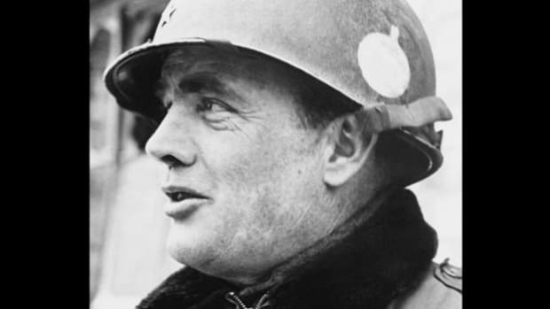 In a broadcast on December 29, 1944, Gen. Anthony C. McAuliffe recounts the 101st Airborne's victory against overwhelming odds at Bastogne, Belgium.