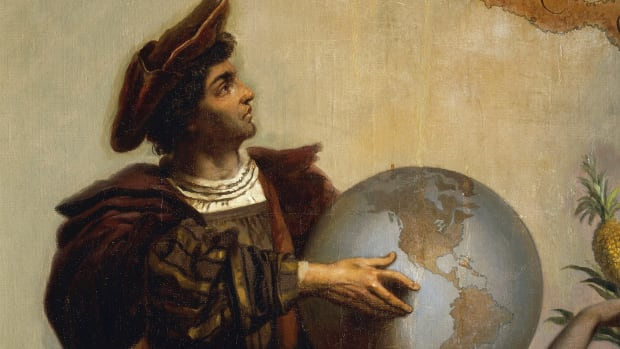 On this day in 1942, after sailing across the Atlantic Ocean, Italian explorer Christopher Columbus sights a Bahamian island, believing he has reached East Asia. His expedition went ashore the same day and claimed the land for Isabella and Ferdinand of Spain, who sponsored his attempt to find a western ocean route to China, India, and the fabled gold and spice islands of Asia. Columbus was born in Genoa, Italy, in 1451. Little is known of his early life, but he worked as a seaman and then a maritime entrepreneur. He became obsessed with the possibility of pioneering a western sea route to Cathay (China), India, and the gold and spice islands of Asia. At the time, Europeans knew no direct sea route to southern Asia, and the route via Egypt and the Red Sea was closed to Europeans by the Ottoman Empire, as were many land routes. Contrary to popular legend, educated Europeans of Columbus' day did believe that the world was round, as argued by St. Isidore in the seventh century. However, Columbus, and most others, underestimated the world's size, calculating that East Asia must lie approximately where North America sits on the globe (they did not yet know that the Pacific Ocean existed).