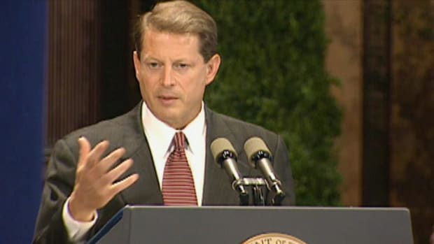 In this History Uncut video clip, watch actual video footage of Al Gore in 1997 as he presents a speech on global warming and climate change.
