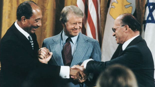 In 1978, President Jimmy Carter held a 13-day summit with Egyptian President Anwar el-Sadat and Israeli Prime Minister Menachem Begin, helping to broker the first-ever peace treaty between Israel and one of its Arab neighbors. On September 17, at the end of the summit, President Carter describes the two agreements the two world leaders will sign.