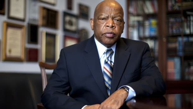 "Inspired by Martin Luther King Jr., John Lewis joined the burgeoning Civil Rights Movement. Lewis was a Freedom Rider, spoke at 1963's March on Washington and led the demonstration that became known as ""Bloody Sunday."""