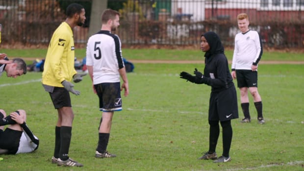 Meet Jawahir Roble–also known as Jawahir Jewels, or JJ. Learn how she became the only FA-qualified ethnic Muslim official currently working in the sport, and how she patrols the pitches on the infamous Hackney Marshes in East London.