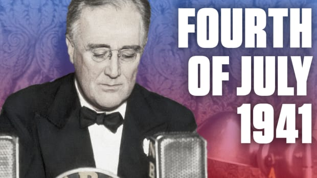 As World War II raged in Europe and North Africa, the United States celebrated its Independence Day in July 1941. It was looking increasingly likely that the U.S. would enter the war, and President Franklin Roosevelt delivered an address that equivocated America's own struggle for freedom in the 1700s with the struggle faced by her allies overseas.