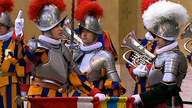 The Swiss Guard are the Pope's highly-trained security force.