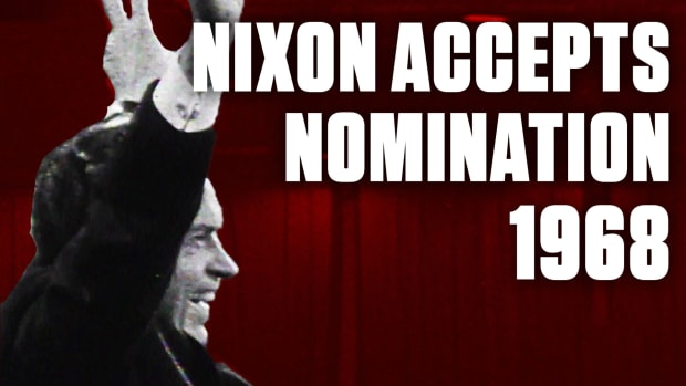 """Richard Nixon accepted the Republican Party's nomination for president (for the second time) on August 8, 1968, in Miami, Florida. Nixon narrowly beat out fellow Republican and then-California Governor Ronald Reagan, delivering a speech that reflected his desire to """"bring us together again"""" and reunite the country in divisive times."""
