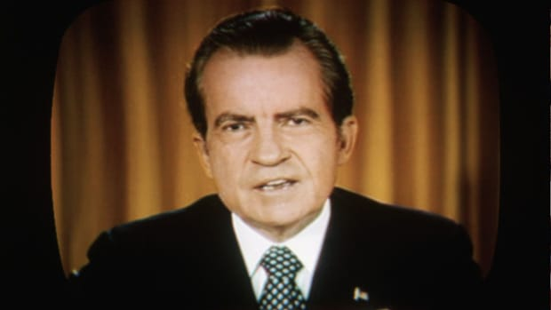 On April 30, 1973, with the Watergate trial well underway, President Richard Nixon announces on nationwide television and radio the resignation of his closest advisers, H.R. Haldeman and John Ehrlichman, as well as White House Counsel John Dean and Attorney General Richard Kleindienst.