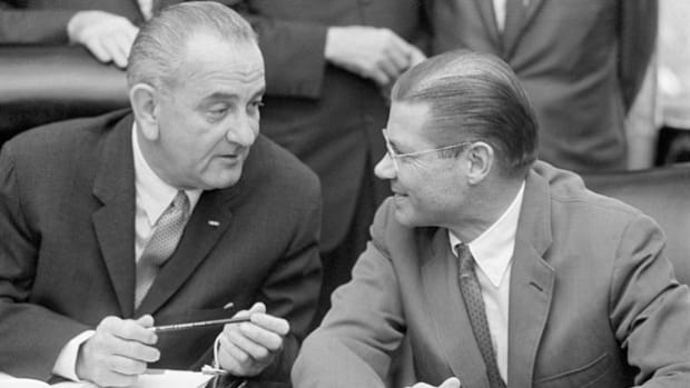 In a recorded phone call on February 26, 1965, Secretary of Defense Robert McNamara and President Lyndon B. Johnson discuss possible airstrikes in Vietnam.