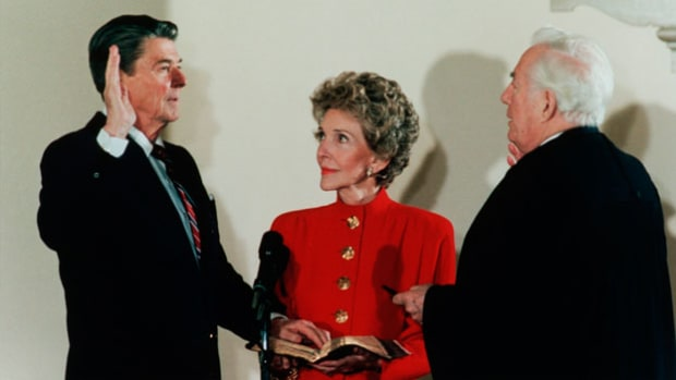 "Defeating Democratic nominee Walter Mondale with an unprecedented electoral vote margin, President Ronald Reagan secured a second term as president of the United States. In his inaugural address on January 21, 1985, Reagan introduces the idea of a ""new American emancipation."""