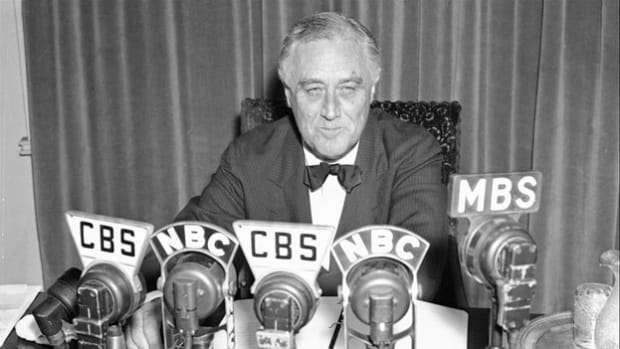 Following Great Britain's declaration of war with Germany on September 3, 1939, President Franklin D. Roosevelt delivers a nationwide broadcast later that day to affirm America's neutrality.