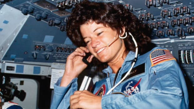 Sally Ride becomes the first American woman in space when the shuttle Challenger takes off on June 18, 1983. The historical moment is noted in communication just after liftoff.