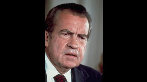 "In a secretly recorded conversation on April 16, 1973, President Richard Nixon discusses with his aide John Dean the need to have the resignations of Dean, H.R. Haldeman and John Ehrlichman ""at the ready"" in the wake of the Watergate scandal."