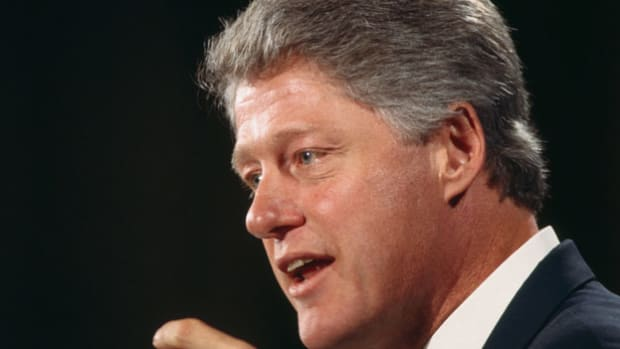 After a humanitarian mission in Somalia turned violent and U.S. soldiers were killed and dragged through the streets by a Somali gang, President Bill Clinton addresses the nation on October 7, 1993, regarding U.S. military action.