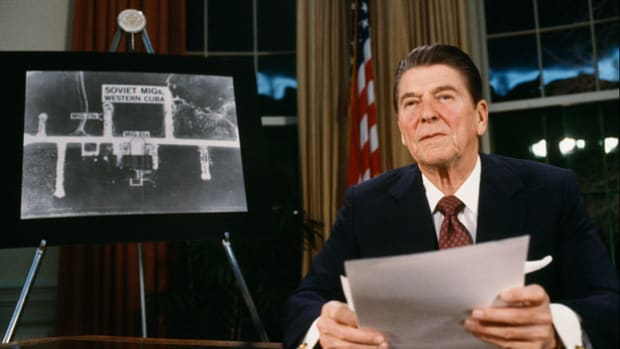 "On March 23, 1983, in what later became known as his ""Star Wars"" speech, President Ronald Reagan announces his plans to develop an anti-missile capability to counter the threat of Soviet ballistic missiles and to make these nuclear weapons ""impotent and obsolete."""