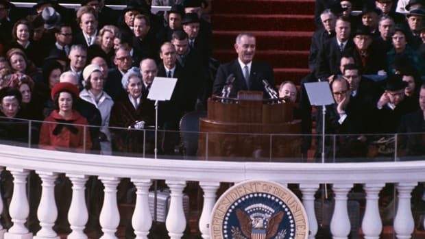 On January 20, 1965, Lyndon B. Johnson began his first elected term as president of the United States. In his inaugural address, Johnson calls for the nation to unite toward a common goal.