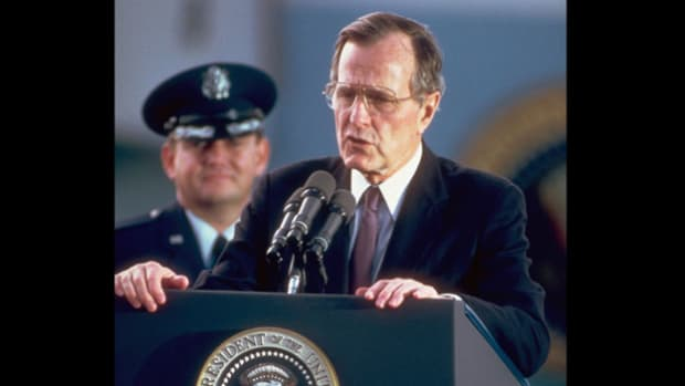 On May 31, 1989, in a speech delivered in Mainz, West Germany, President George H. W. Bush emphasizes America's desire to see the barriers between the east and west come down.