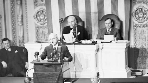 On March 12, 1947, President Harry Truman urges a joint session of Congress to support his doctrine, which calls for U.S. financial and military aid to Greece and Turkey in an effort to protect the countries from Soviet domination.