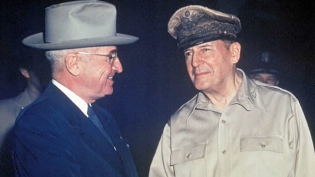 On April 11, 1951, President Harry Truman relieved Gen. Douglas MacArthur of his command due to their disagreement over the handling of the Korean War. On April 19, 1951, after 52 years of military service, Gen. Douglas MacArthur delivers a farewell address to Congress, setting off a controversy among congressional members over whether or not the Joint Chiefs of Staff had approved the MacArthur plan for operations.