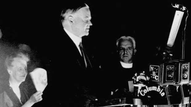 In his 1932 acceptance speech for the Republican nomination for president, President Herbert Hoover promises to continue his reconstruction efforts if he has a chance at a second term.