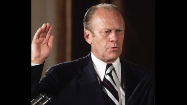"On August 9, 1974, after the resignation of President Richard Nixon, Vice President Gerald Ford takes the oath of office and reassures the American people that ""our long national nightmare is over."" For the first time in U.S. history, a non-elected vice president became president of the country."