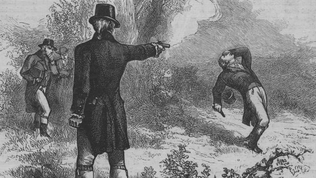 In a This Day in History video, learn that on July 11, 1804, Aaron Burr fatally wounded Alexander Hamilton in a duel. Burr was Thomas Jefferson's Vice President and Hamilton was a force behind the Constitution. The shooting was the climax of a twenty year grudge; Hamilton, a Federalist, loathed Burr, a Republican. After Hamilton publically insulted Burr and his character, Burr proposed a duel. Hamilton's shot went high, perhaps intentionally, while Burr's bullet hit Hamilton in the stomach. The next day, Hamilton died along with Burr's career in politics.