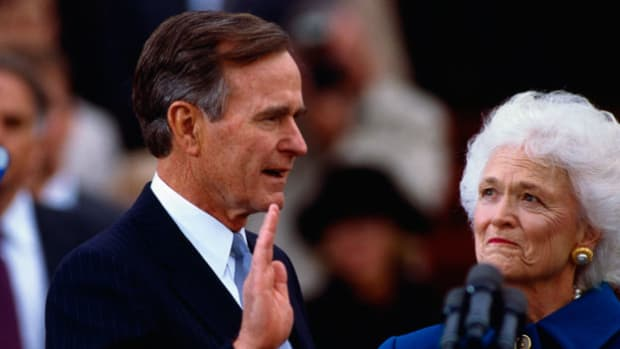 "On January 20, 1989, former Vice President George H. W. Bush took the oath of office and was sworn in as the 41st president of the United States. In his address, Bush reiterates his campaign promise for a ""kinder, gentler"" nation, and also emphasizes the need to deal with the federal budget deficit."