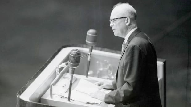 On December 8, 1953, President Dwight D. Eisenhower addresses the General Assembly of the United Nations on the peaceful use of atomic energy.