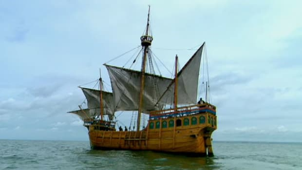 Columbus' modern ships were fast and strong enough for the rough Atlantic seas.