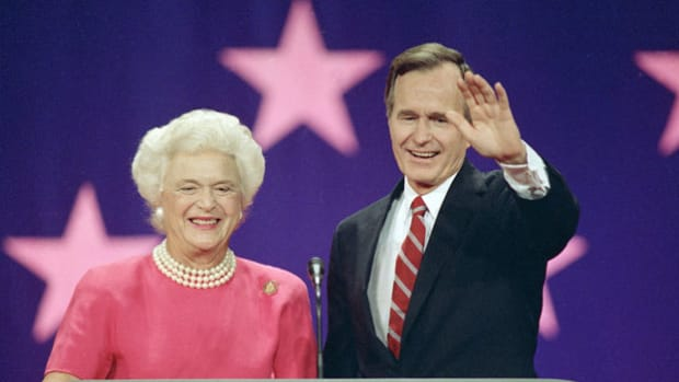 "Upon his nomination for president of the United States, George H. W. Bush delivers an acceptance speech at the Republican National Convention on August 18, 1988. Bush folds into his speech many slogans that he will use throughout his campaign, including his reference to the ""1,000 points of light"" that symbolize America's diversity."
