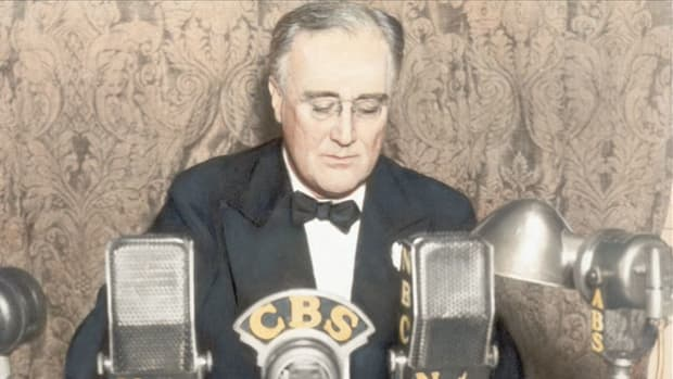 On March 6, 1933, newly elected President Franklin D. Roosevelt orders the temporary closing of all banks in an effort to stem a financial crisis. On March 12, Roosevelt delivers his first fireside chat radio broadcast to assure the American people that their savings are safe.