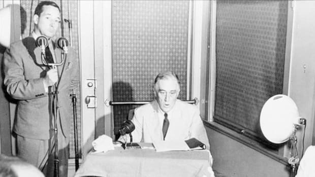 Broadcast from a Pacific coast naval base to the Democratic National Convention in Chicago, Illinois, on July 20, 1944, Franklin D. Roosevelt accepts his party's nomination for an unprecedented fourth presidential bid and speaks about postwar preparations now that victory is close at hand.