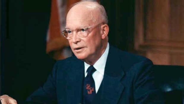 In October 1956, Britain and France entered into a coalition with Israel, and the three nations launched a military attack against Egyptian forces in the Suez Canal. On October 31, in a speech to the nation, President Eisenhower expresses the United States' opposition to the military action.
