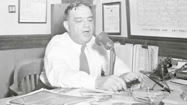 In one of five radio broadcasts made on August 2, 1943, Mayor Fiorello LaGuardia informs New York City citizens that the curfew he ordered may soon be lifted. LaGuardia had called for the curfew when a riot broke out the previous night in Harlem after a white policeman shot and injured a black soldier who had intervened in the arrest of a woman.