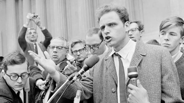 Mario Savio, leader of the Free Speech Movement at the University of California, Berkeley, was a frequent speaker in the spate of student demonstrations held on campus in fall 1964. In one public statement, Savio protests the university's ban of political activity on school grounds.
