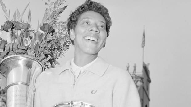 Live coverage at Wimbledon in 1957 captures Althea Gibson's victory. Gibson was the first African-American woman to win Wimbledon and the U.S. Nationals.